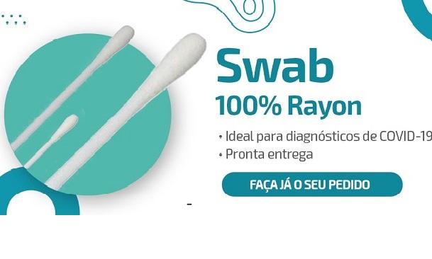 SWAB ESTÉRIL COM PONTA DE RAYON - C/ 100 UN